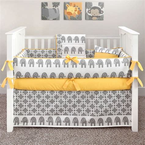 Yellow And Gray Baby Bedding Sets Elephant Grey And Yellow Crib Bedding Yellow Elephant 5 Crib Set Baby Stuff