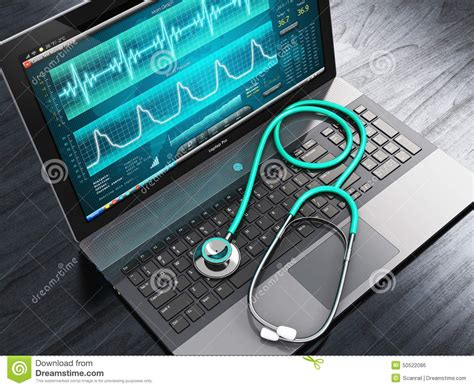 laptop software laptop with diagnostic software and stethoscope