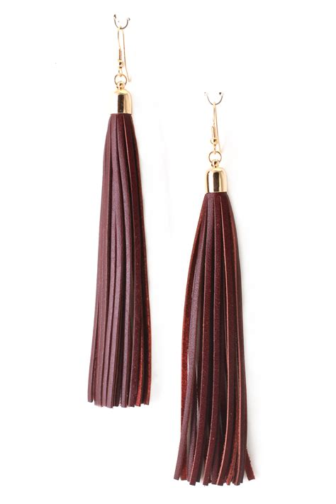 Tassel Earring Key leather tassel earrings