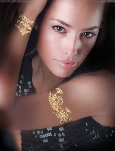 gold foil tattoo be the of new year s with shiny foil tattoos