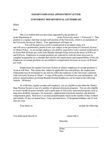 appointment letter regular employee exempt employee appointment letter in word and pdf formats