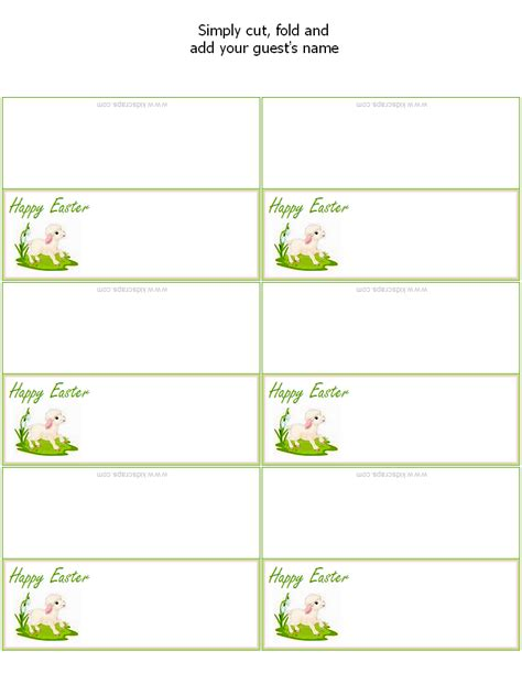 free printable easter place cards holiday party favors
