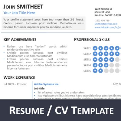 Resume And Cv Ppt 1page Resume Cv Powerpoint