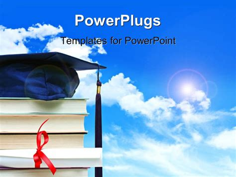 Powerpoint Template A Stack Of Books With A Graduation Powerplugs For Powerpoint