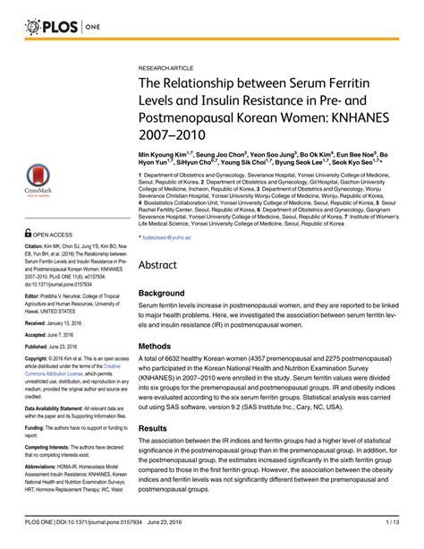 (PDF) The Relationship between Serum Ferritin Levels and