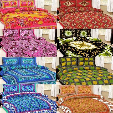 pillow covers and bed sheets buy shop rajasthan 8 cotton double bed sheet with 16