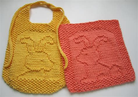 free knitted baby bib patterns a of two bunnies free knitting patterns knitting bee