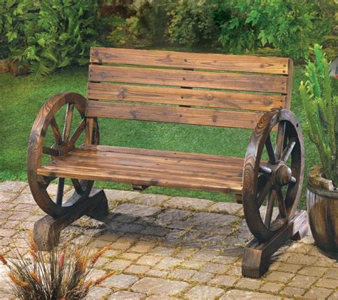 rustic wooden garden benches the rustic wagon wheel garden bench