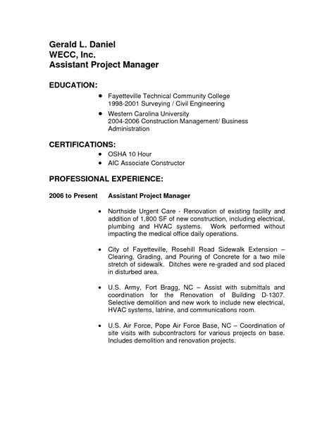 assistant construction project manager resume sales