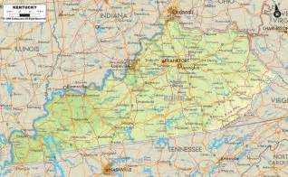 Map Of Physical Map Of Kentucky Ezilon Maps