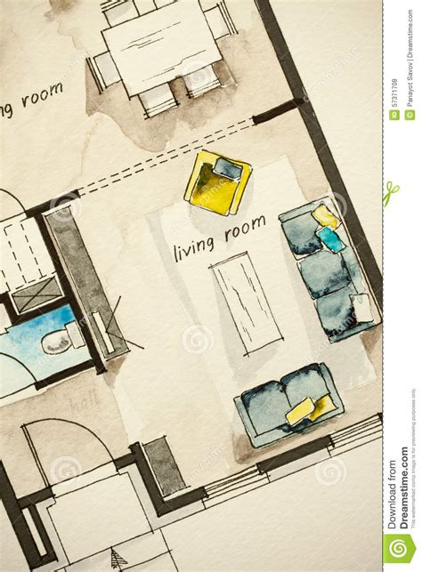 free floor plan sketcher watercolor and ink freehand sketch drawing of apartment