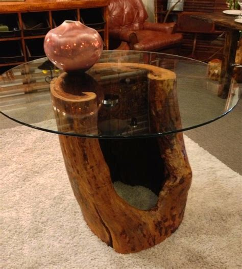 Tree Trunk Dining Table With Glass Top Reclaimed Wood Dining Table Made From Hollow Tree Trunk And 42 Quot Glass Top See It At
