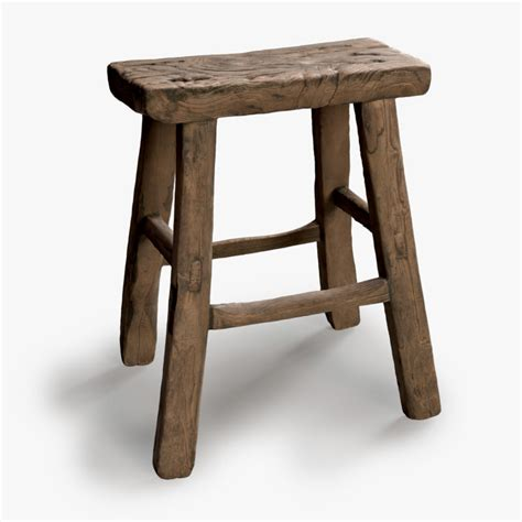 retro wooden stool square vintage wood stool 3d model