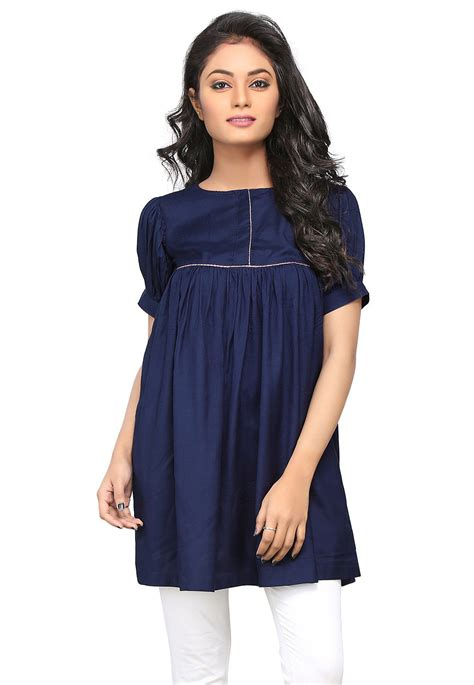 Tunik Rayon 1 plain rayon flared tunic in navy blue thu342