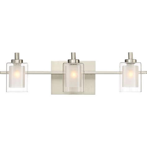 modern bathroom vanity light fixtures quoizel klt8603bnled kolt modern brushed nickel led 3