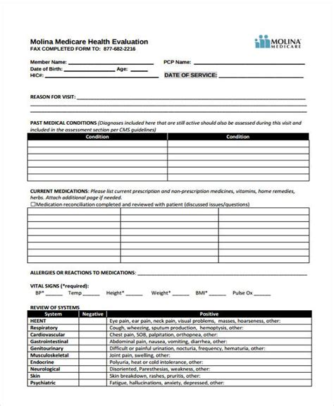 35 health assessment form templates