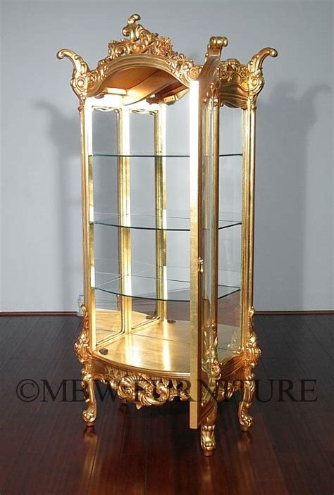 hand crafted ft tall solid mahogany gold french curio