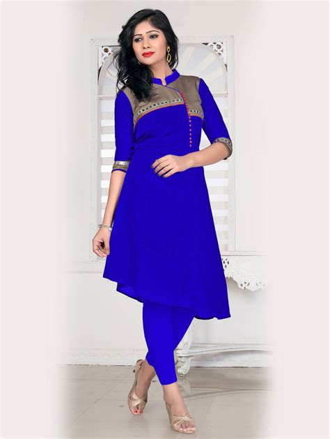 Which Designers Line Will You Buy by Buy Royal Blue Bangalori Silk A Line Fancy Kurti