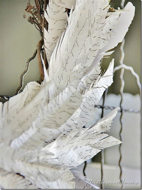 Make Paper Feathers - how to make a paper feather wreath thistlewood farm