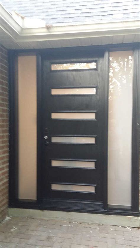 modern fiberglass single door with 6 door lites and