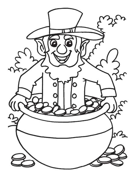 free coloring pages of leprechaun pot of gold