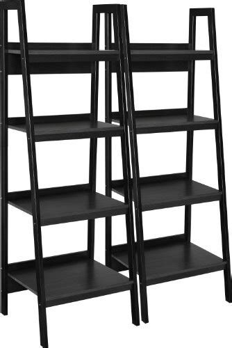 set of two multi use ladder style bookcase bookshelf