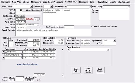 work order database template construction work construction work order management software