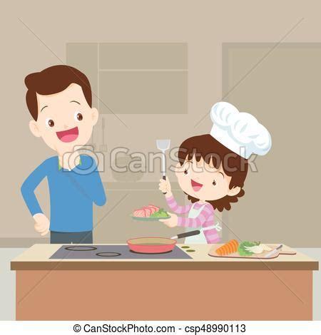papa regarder cuisine fille papa fille cuisine clipart vectoris 233 recherchez