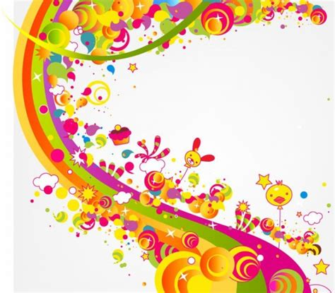 happy colors free abstract happy cute rainbow color vector illustration