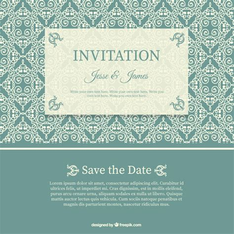 download pattern wedding wedding invitation with floral pattern vector free download