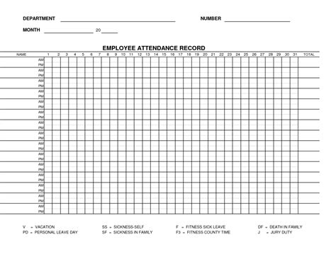 free printable blank employee attendance record template