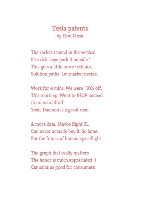 Tesla Poem Poetweet Poems By Elon Musk Marc Andreessen