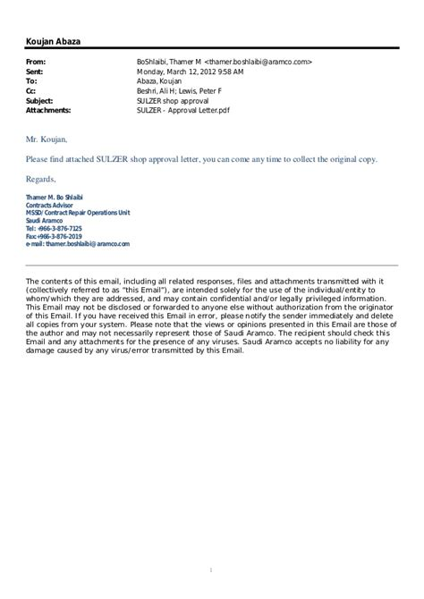 Sle Acceptance Letter Via Email Aramco Email And Letter For Sulzer Pumps Workshop Approval