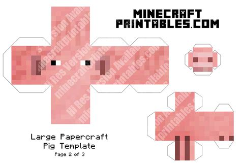 pig printable minecraft pig papercraft template