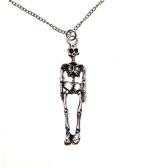 Skeleton Black Silver Chain skeleton pendant skeleton jewelry 3d skeleton