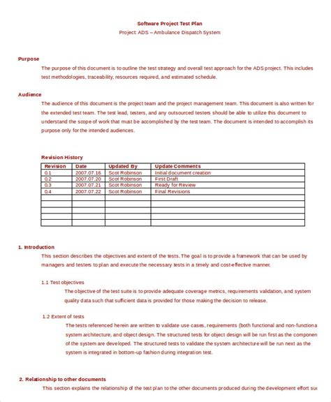Test Plan Template 11 Free Word Pdf Documents Download Free Premium Templates Simple Test Plan Template