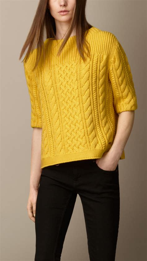 Cable Knit Sweater lyst burberry cotton blend cable knit sweater in yellow