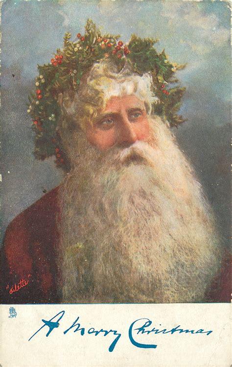 merry christmas santa head  shoulders  crown  holly tuckdb postcards