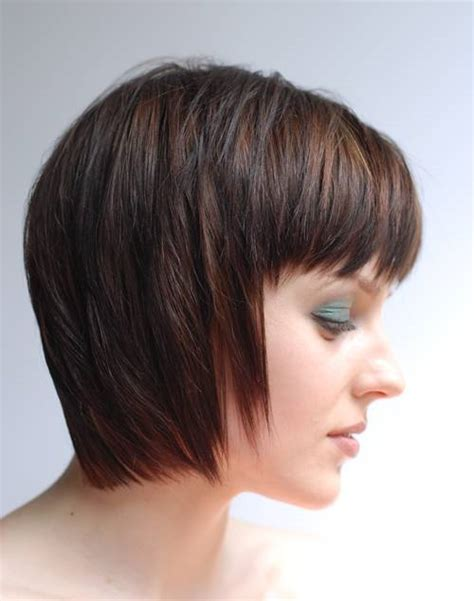 layered top and tapered side haircuts tapered bob with side swept bangs short layered