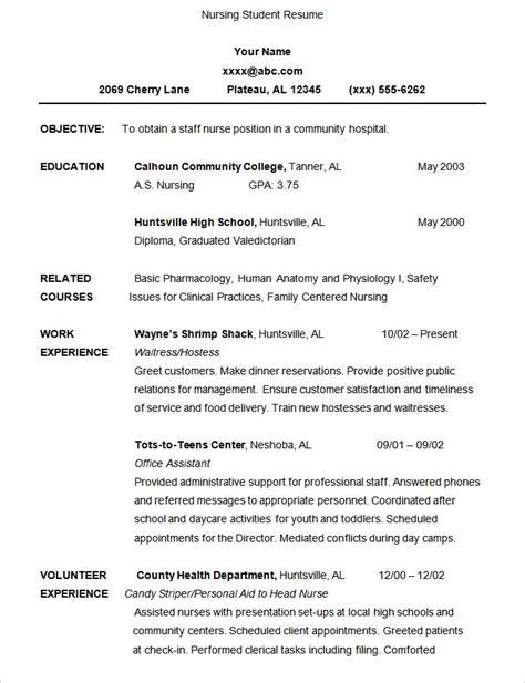 Resume Template For Resume Sles For Nursing Students Haadyaooverbayresort