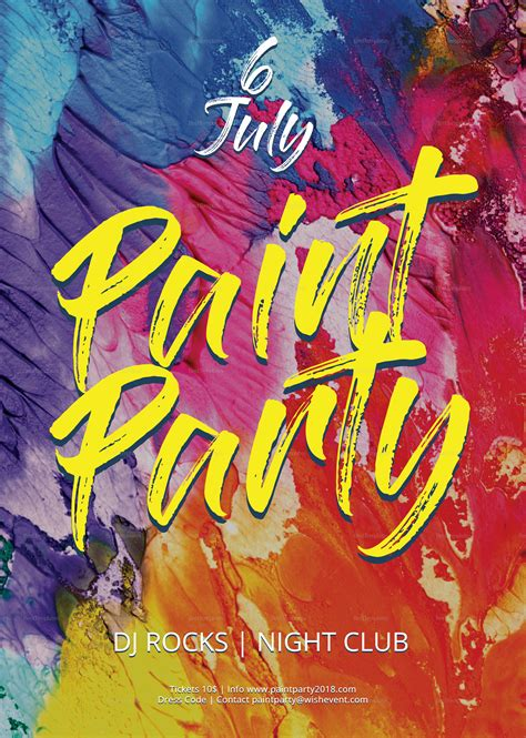 Paint Party Flyer Template paint flyer design template in psd word publisher