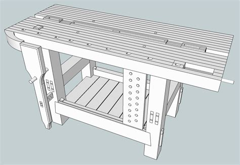 sketchup layout hybrid the split top hybrid roubo sketchup the fameless woodworker