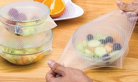 Silicone Stretch Fresh Food Cling Protection Silikon Peli Xwf3 silicone food covers four pack groupon