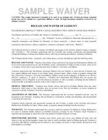 waiver of responsibility template volunteer release and waiver template