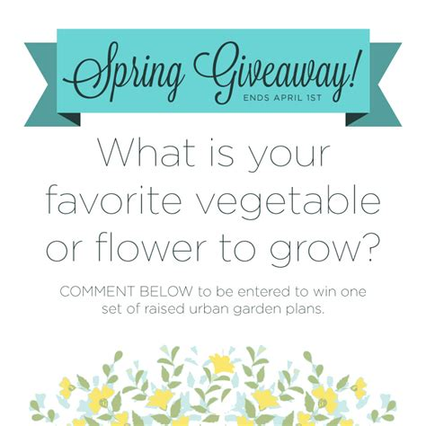 spring giveaway one free set of my garden plans ends april 1st raised urban gardens - Spring Giveaway