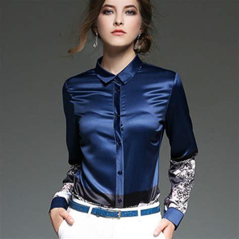 Blouse Satin Elegan 2016 autumn winter sleeve print shirt office satin blouse silk top satin