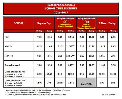 Bethel Calendar Bethel Schools Time Schedule Calendar And