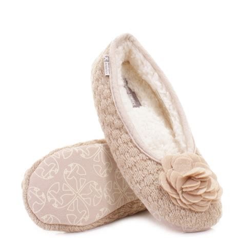 Ladies Bedroom Slippers | womens bedroom athletics charlize natural fleece knit