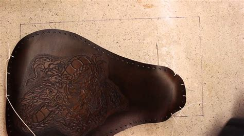 motorcycle seat leather upholstery tooled leather motorcycle seat part 5 assembly youtube