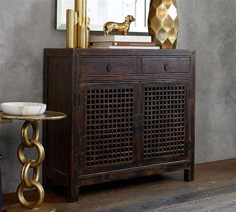 Black Two Door Fretwork Cabinet